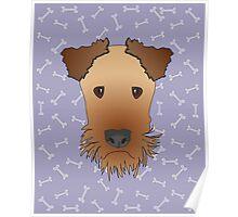 Airedale Terrier Cartoon Illustration on Purple Bones Background Poster