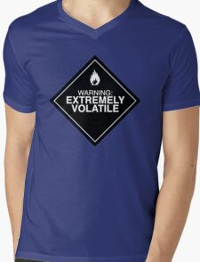 Extremely Volatile warning sign Mens V-Neck T-Shirt