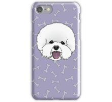 Bichon Frise Cartoon Illustration on Purple Bones Background iPhone Case/Skin