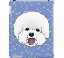 Bichon Frise Cartoon Dog Illustration on Blue Bones Background iPad Case/Skin