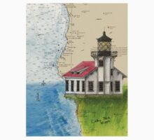 Pt Cabrillo Lighthouse CA Chart Cathy Peek One Piece - Short Sleeve