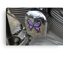 Purple Butterfly On Chrome Canvas Print