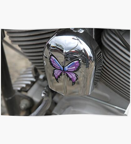 Purple Butterfly On Chrome Poster