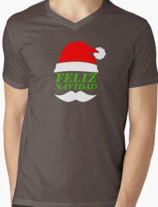 Feliz Navidad Santa Mens V-Neck T-Shirt