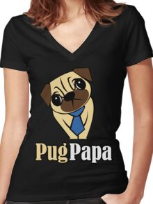 Pug Papa Women's Fitted V-Neck T-Shirt