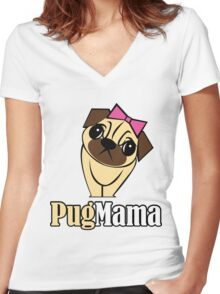 Pug Mama Women's Fitted V-Neck T-Shirt