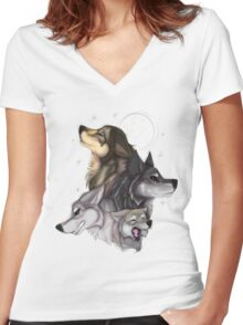 Wolfpack in all its glory Women's Fitted V-Neck T-Shirt