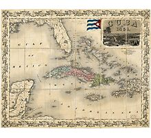 Map of Cuba by J.H. Colton (1851) Photographic Print
