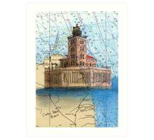 Port Austin Reef Lighthouse MI Chart Cathy Peek Art Print