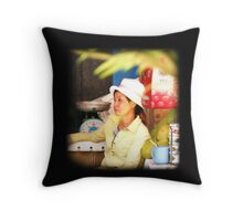 Shop keeper in Siem Reap, Cambodia Throw Pillow