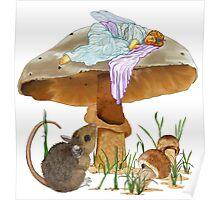 Mushroom Fairy & Mouse Poster