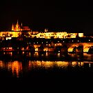 Reflections of Prague Castle at Night by Jennifer Lyn King