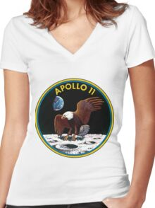 Apollo 11 Mission Logo Women's Fitted V-Neck T-Shirt