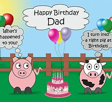 Dad Funny Animals Pig & Cow Humor Cute Birthday  by Samantha Harrison
