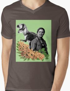 Sarah // T Rex - Woman Inherits The Earth Mens V-Neck T-Shirt