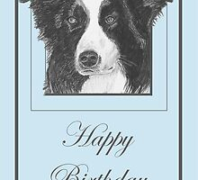 Pencil Drawing of Border Collie Dog on Birthday Card by Catherine Roberts