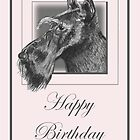 Pencil Drawing of Scottish Terrier (Scottie Dog) on Birthday Card by Samantha Harrison