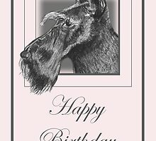 Pencil Drawing of Scottish Terrier (Scottie Dog) on Birthday Card by Catherine Roberts