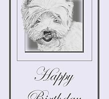 Pencil Drawing of West Highland Terrier (Westie) on Birthday Card by Samantha Harrison