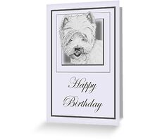 Pencil Drawing of West Highland Terrier (Westie) on Birthday Card Greeting Card