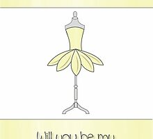 Sister Will You Be My Bridesmaid with Mannequin & Yellow Petal Dress by Samantha Harrison