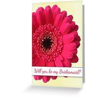 Will You Be My Bridesmaid with Photo Fushia Pink Flower Greeting Card