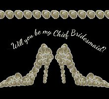 Will You Be My Chief Bridesmaid White Rose Handbag & Shoe Design by Samantha Harrison