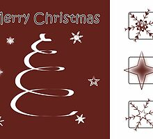 Swirl Christmas Tree & Snowflake Card in Red and White by Catherine Roberts