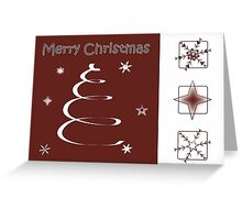 Swirl Christmas Tree & Snowflake Card in Red and White Greeting Card