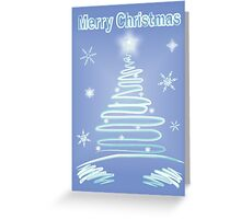 Merry Christmas Luminous Icy Colour Tree & Snowflakes Greeting Card