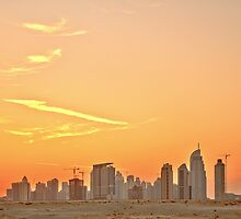 Business Bay Sunset from Al Khail Road by Ian Mitchell