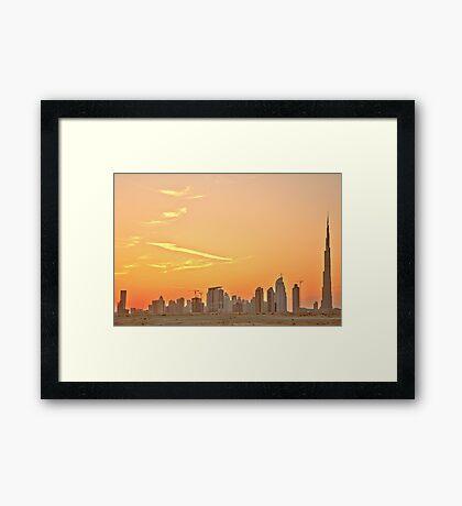 Business Bay Sunset from Al Khail Road Framed Print