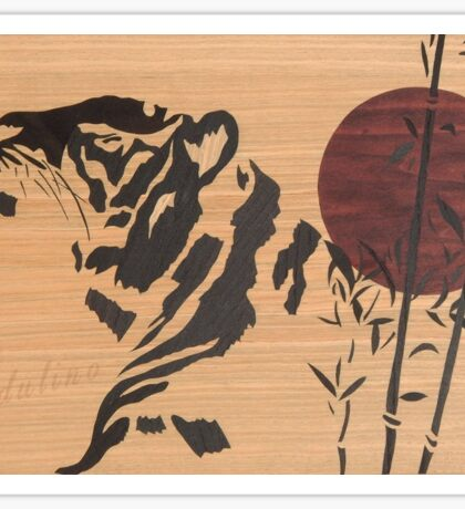 Japanese style tiger marquetry Sticker