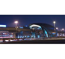 Business Bay Metro at Night Photographic Print