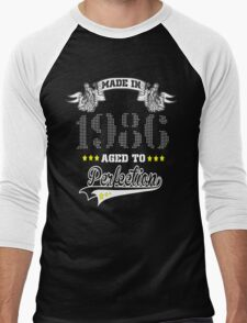 made in 1986-aged to perfection Men's Baseball ¾ T-Shirt