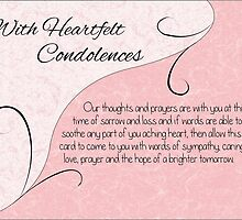 With Heartfelt Condolences with Words - Pastel Pink & Vintage Scrolls by Catherine Roberts