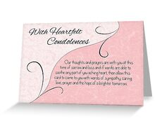 With Heartfelt Condolences with Words - Pastel Pink & Vintage Scrolls Greeting Card