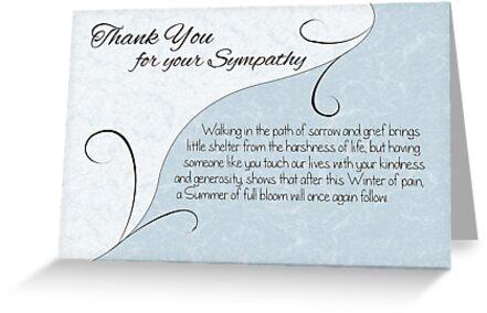 Thank You Sympathy Card - Pastel Blue with Vintage Scrolls by Samantha Harrison