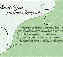 Thank You Sympathy Card - Pastel Green with Vintage Scrolls by Samantha Harrison
