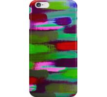 Green Red and Pink Brush Stroke Horizontal Lines iPhone Case/Skin
