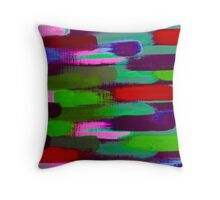 Green Red and Pink Brush Stroke Horizontal Lines Throw Pillow
