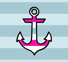 Nautical Anchor and Stripes - Black Blue Pink by sitnica