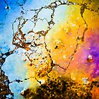 Abstract picture of colours made by oil on the beach by marina63