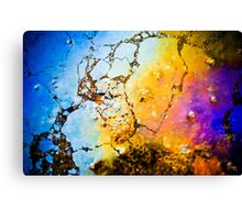 Abstract picture of colours made by oil on the beach Canvas Print