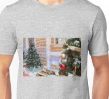 House of Santa Claus, Christmas trees and reindee Unisex T-Shirt