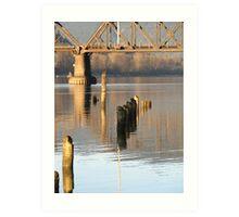 Fraser River railway bridge Art Print