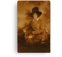 Black Lady with Hat Canvas Print