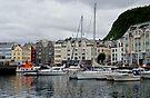 Boats at Marina in Alesund, Norway by Gerda Grice