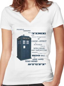 Doctor Who Timey Wimey Women's Fitted V-Neck T-Shirt