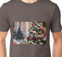 House of Santa Claus, Christmas trees and reindeer Unisex T-Shirt